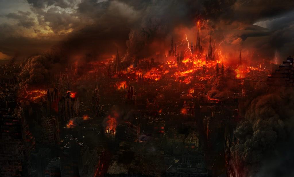 Ciudad en llamas.