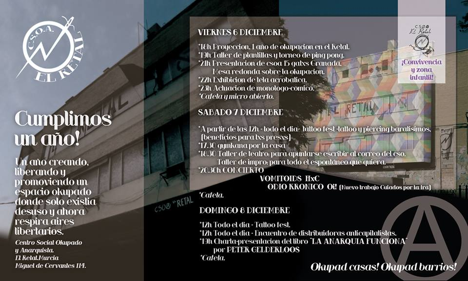 Cartel aniversario CSOA El Retal 2