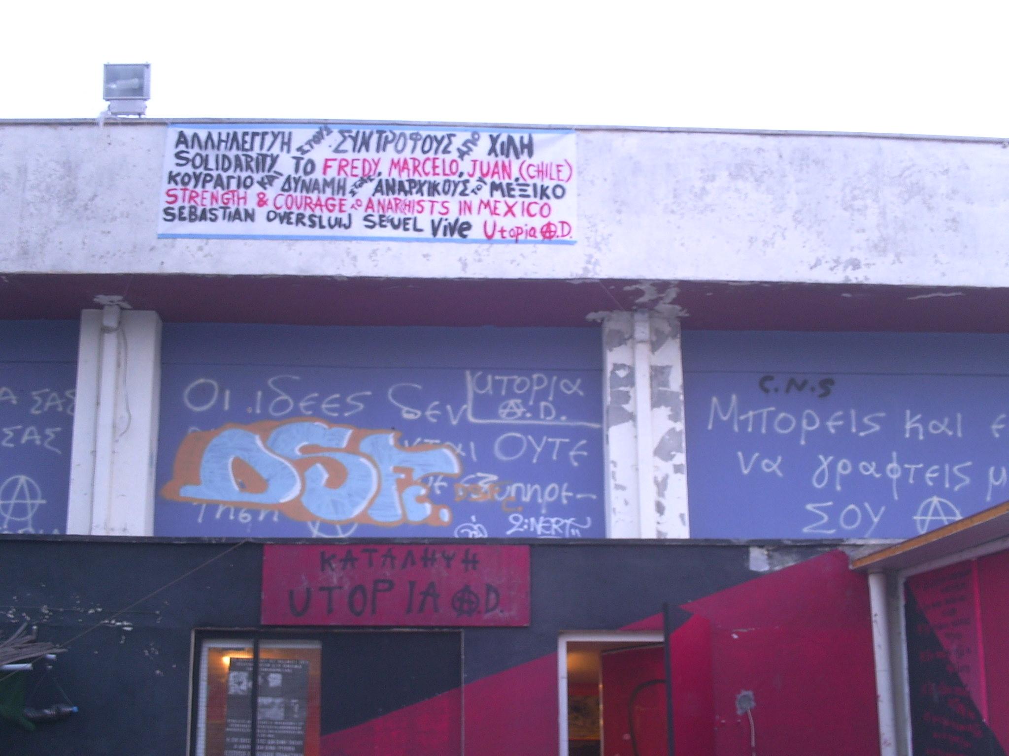 Pancarta solidaria Caso Security Chile