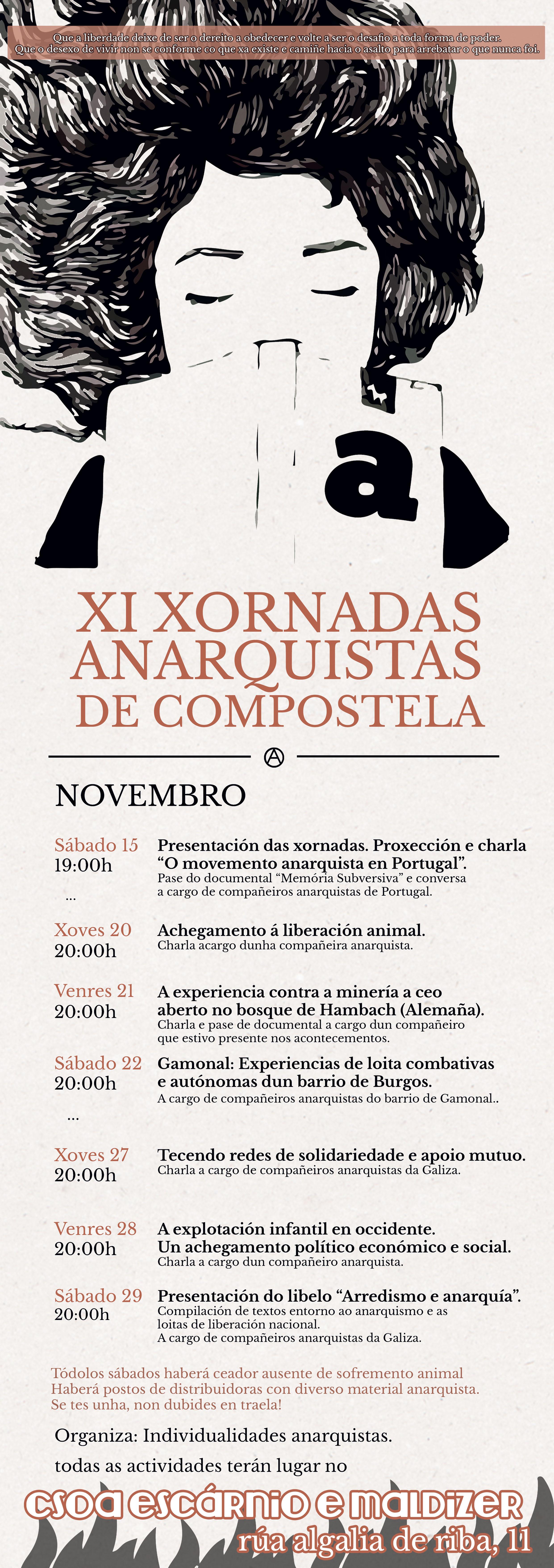 Cartel Xornadas Anarquistas de Compostela